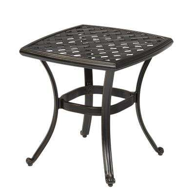 black aluminum outdoor side tables patio tables the home depot rh homedepot com lowes outdoor patio side tables lowes outdoor patio side tables