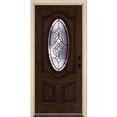 37.5 in. x 81.625 in. Lakewood Patina 3/4 Oval Lite Stained Walnut Oak Left-Hand Inswing Fiberglass Prehung Front Door