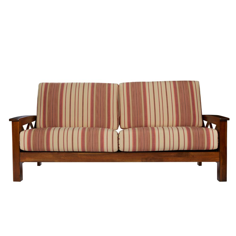 Handy Living Virginia X Design Sofa With Exposed Wood Frame In Red Stripe