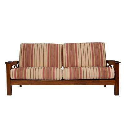 Virginia X Design Sofa With Exposed Wood Frame In Red Stripe