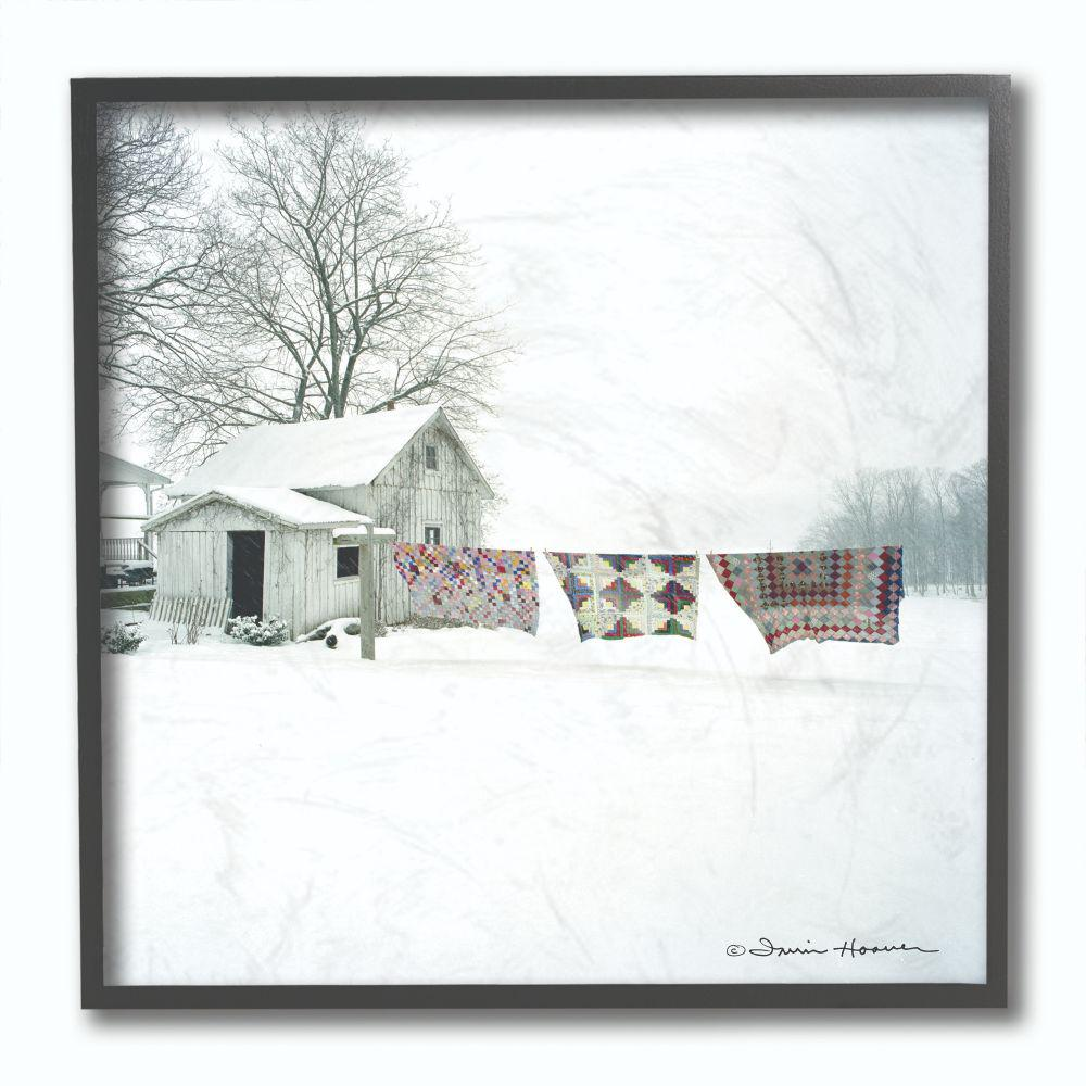 The Stupell Home Decor Collection 12 in. x 12 in. Winter Snow Shed Clothesline Blankets Photograph by Penny Lane Publishing Framed Wall Art, Multi- was $39.23 now $22.19 (43.0% off)