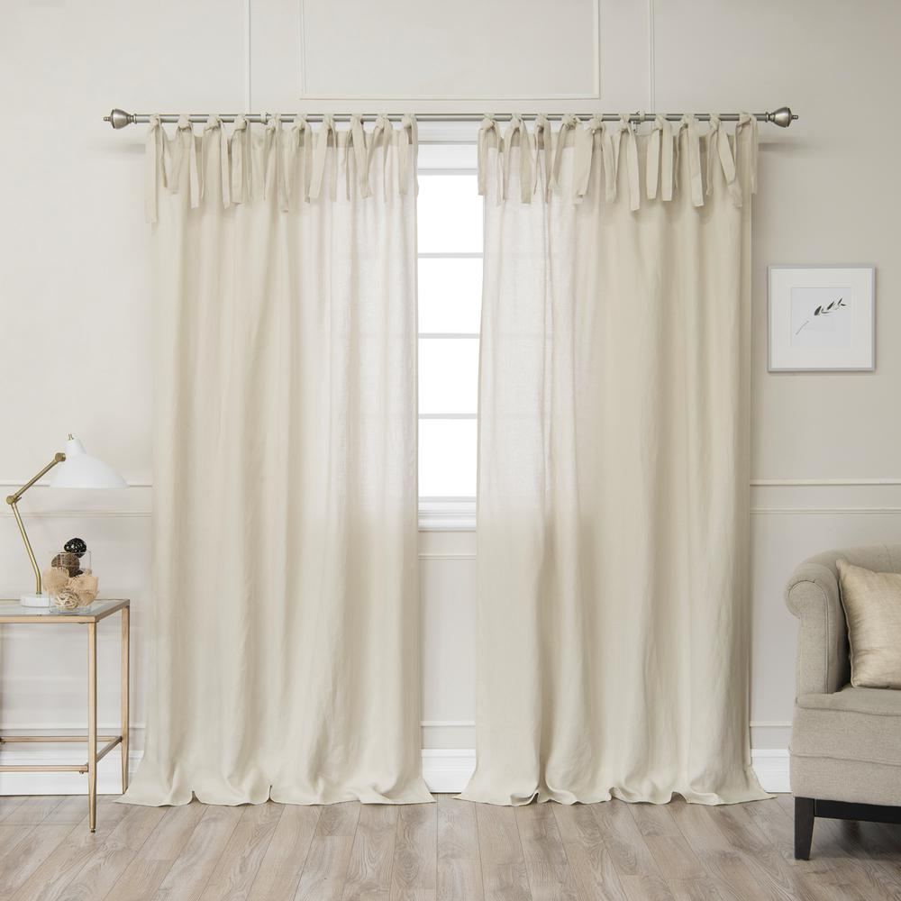Natural 96 In L. Abelia Belgian Flax Linen Tie Top Curtain