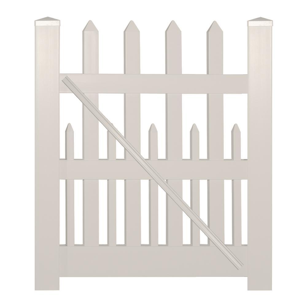 Ashville 4 ft. W x 4 ft. H Tan Vinyl Picket Fence Gate