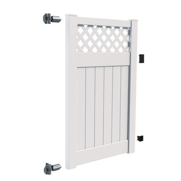 Anderson 4 ft. x 6 ft. White Vinyl Lattice Top Fence Gate