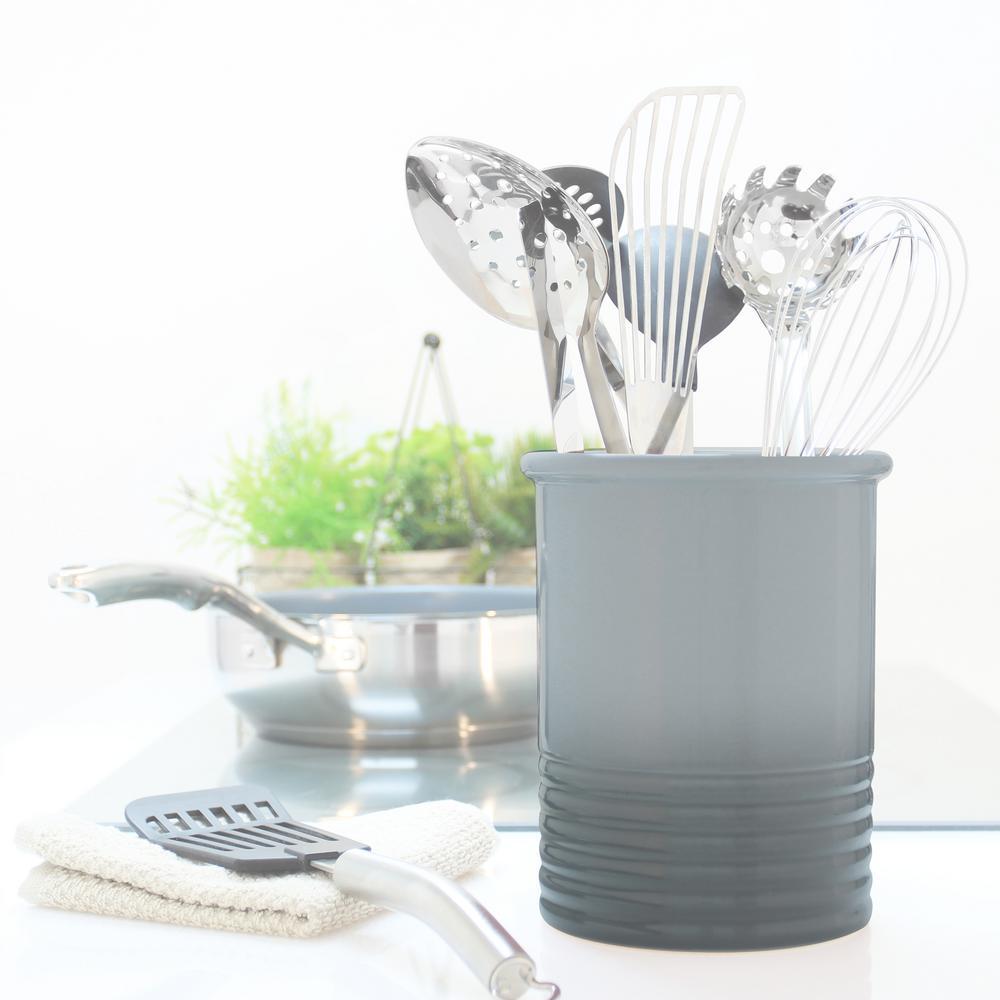 Medium Fade Grey Ceramic Utensil Crock