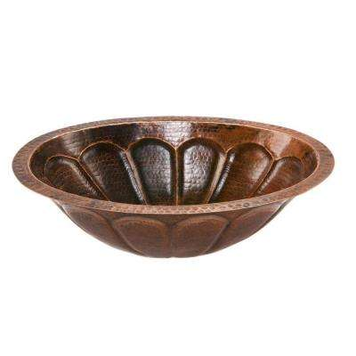Under-Counter Oval Sunburst Hammered Copper Bathroom Sink in Oil Rubbed Bronze