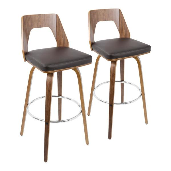 Lumisource Trilogy 30 in. Walnut and Brown Faux Leather Bar Stool