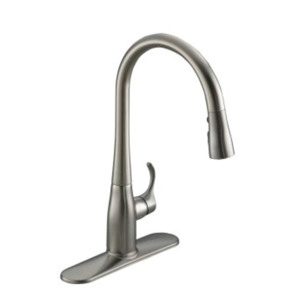 KOHLER Simplice Single Handle Pull Down Sprayer Kitchen Faucet In Vibrant  Stainless With Soap