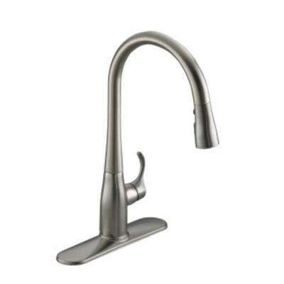 Simplice Single-Handle Pull-Down Sprayer Kitchen Faucet in Vibrant Stainless with Soap Dispenser