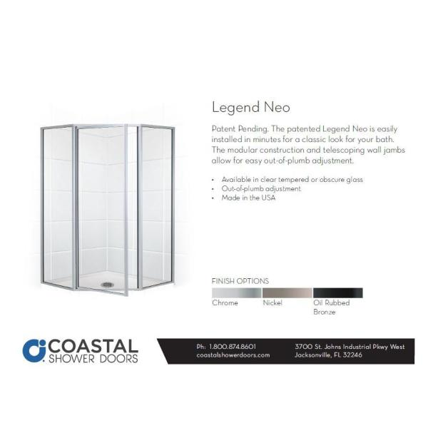 Coastal Shower Doors Legend 59 In X 66 In Framed Neo Angle Hinged Shower Door In Brushed Nickel And Clear Glass Nl16271666n C The Home Depot