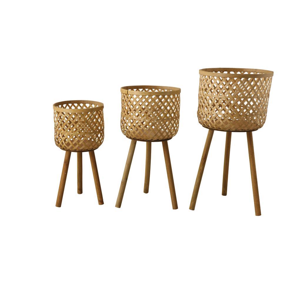 Bamboo Floor Basket with Wood Legs (Set of 3)