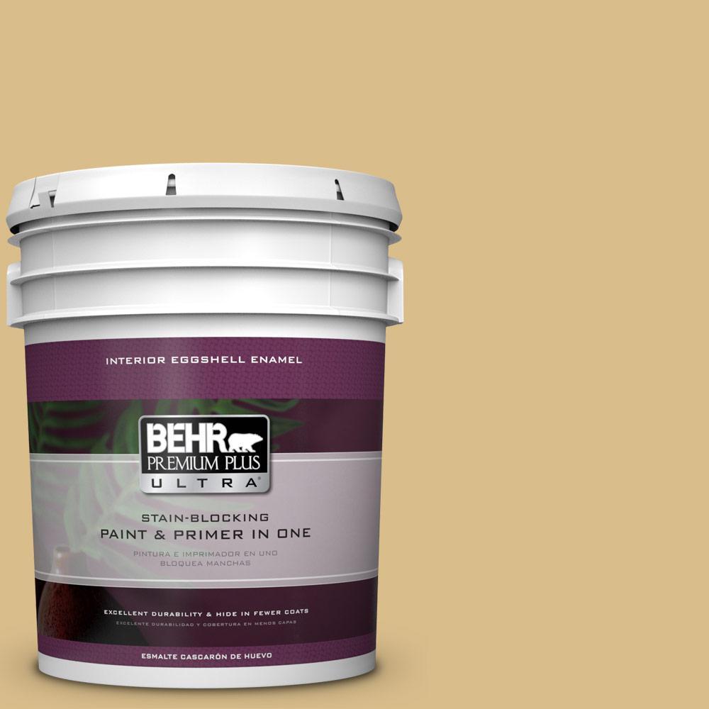 Behr premium plus ultra 5 gal mq2 18 honey tea eggshell enamel interior paint and primer in for Best interior paint and primer in one