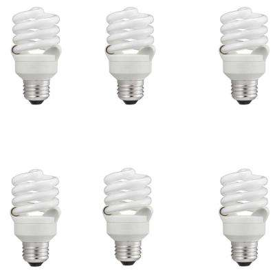 60-Watt Equivalent T2 Spiral CFL Light Bulb Daylight (5000K) (6-Pack)