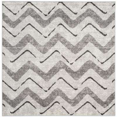 Adirondack Silver/Charcoal 6 ft. x 6 ft. Square Area Rug