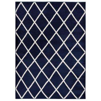 Jasmin Collection Moroccan Trellis Design Gray and Ivory 8 ft. x 10 ft. Area Rug