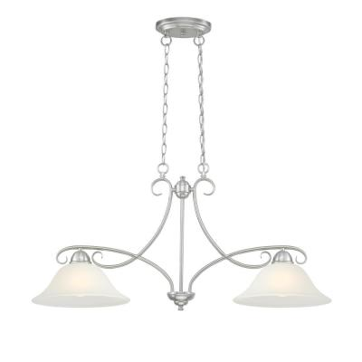 Dunmore 2-Light Brushed Nickel Island Pendant with Frosted Glass Shades