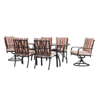 7-Piece Black Metal Rectangle Outdoor Dining Set with Strip Cushion (2-Pack)