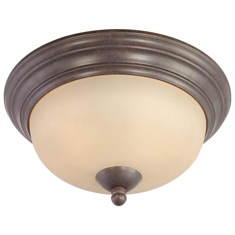 Triton 2-Light Sable Bronze Ceiling Flushmount