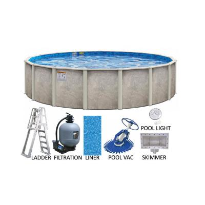 Sahara 21 ft. Round 54 in. Deep Hard Side Metal Wall with Resin Frame Above Ground Swimming Pool Package