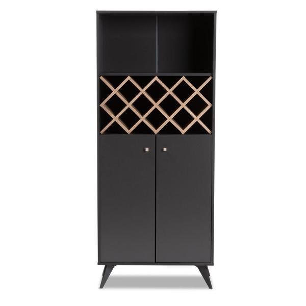 Baxton Studio Serafino 10 Bottle Dark Gray And Oak Brown Wine Cabinet