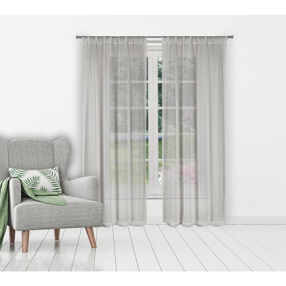 HOME MAISON Kaylynn Silver Pole Top Panel Pair - 37 in. W x 96 in. L  (2-Piece)