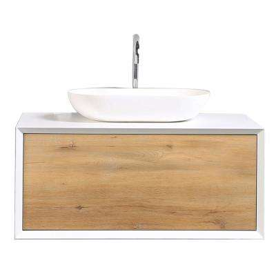 Santa Monica 35.40 in. W x 21.70 in. D x 15.70 in. H Vanity in White with Glassos Vanity Top in White with White Basin
