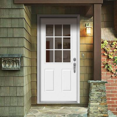 36 in. x 80 in. 9 Lite Primed Steel Prehung Left-Hand Inswing Back Door with Brickmould