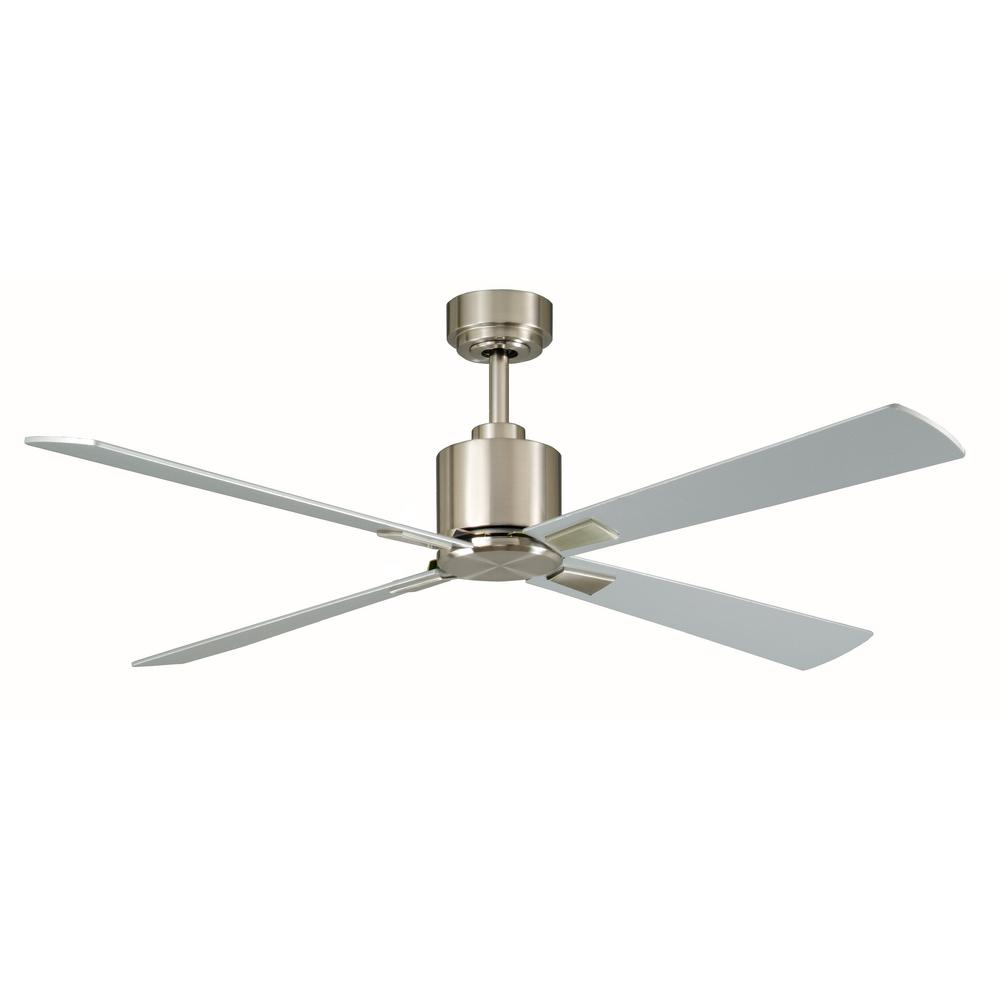 Indoor Brushed Nickel Ceiling Fan With Remote Control
