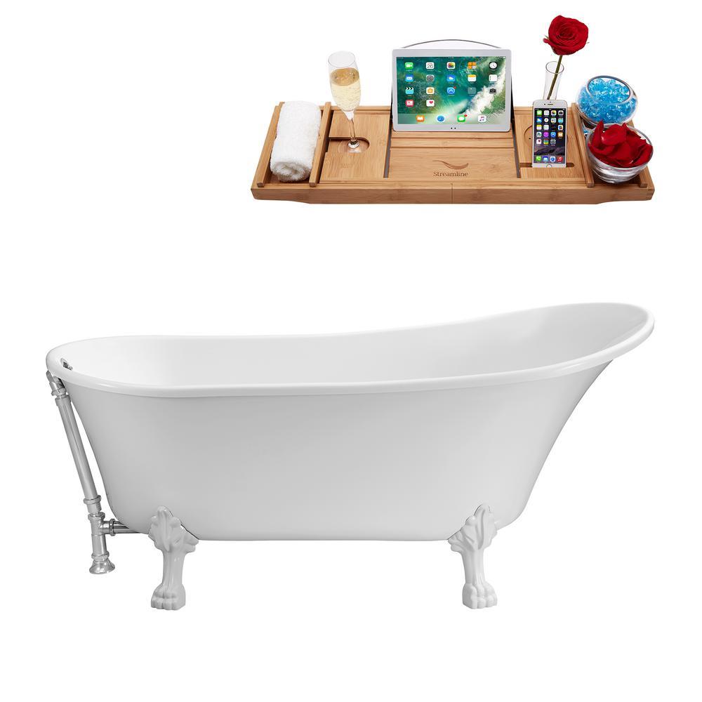 59.1 in. Acrylic Clawfoot Non-Whirlpool Bathtub in White