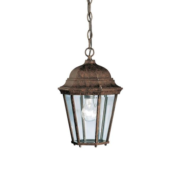 Madison 1-Light Tannery Bronze Outdoor Pendant Light with Clear Beveled Glass