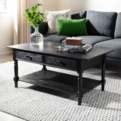 Boris Distressed Black Storage Coffee Table
