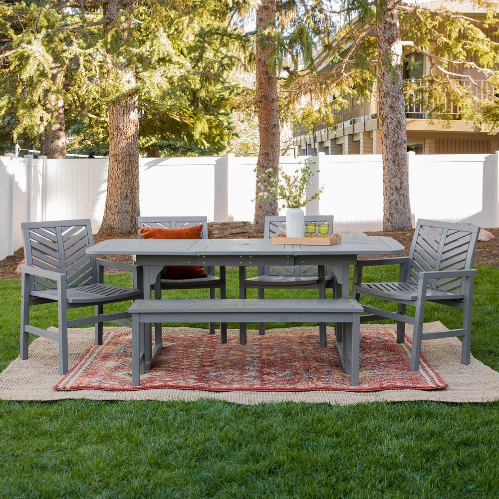 Chevron Grey Wash 6-Piece Extendable Wood Outdoor Patio Dining Set