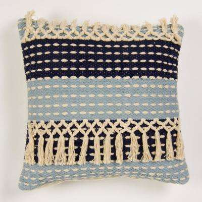 Handwoven two tone pillow in shades of blue with fringes