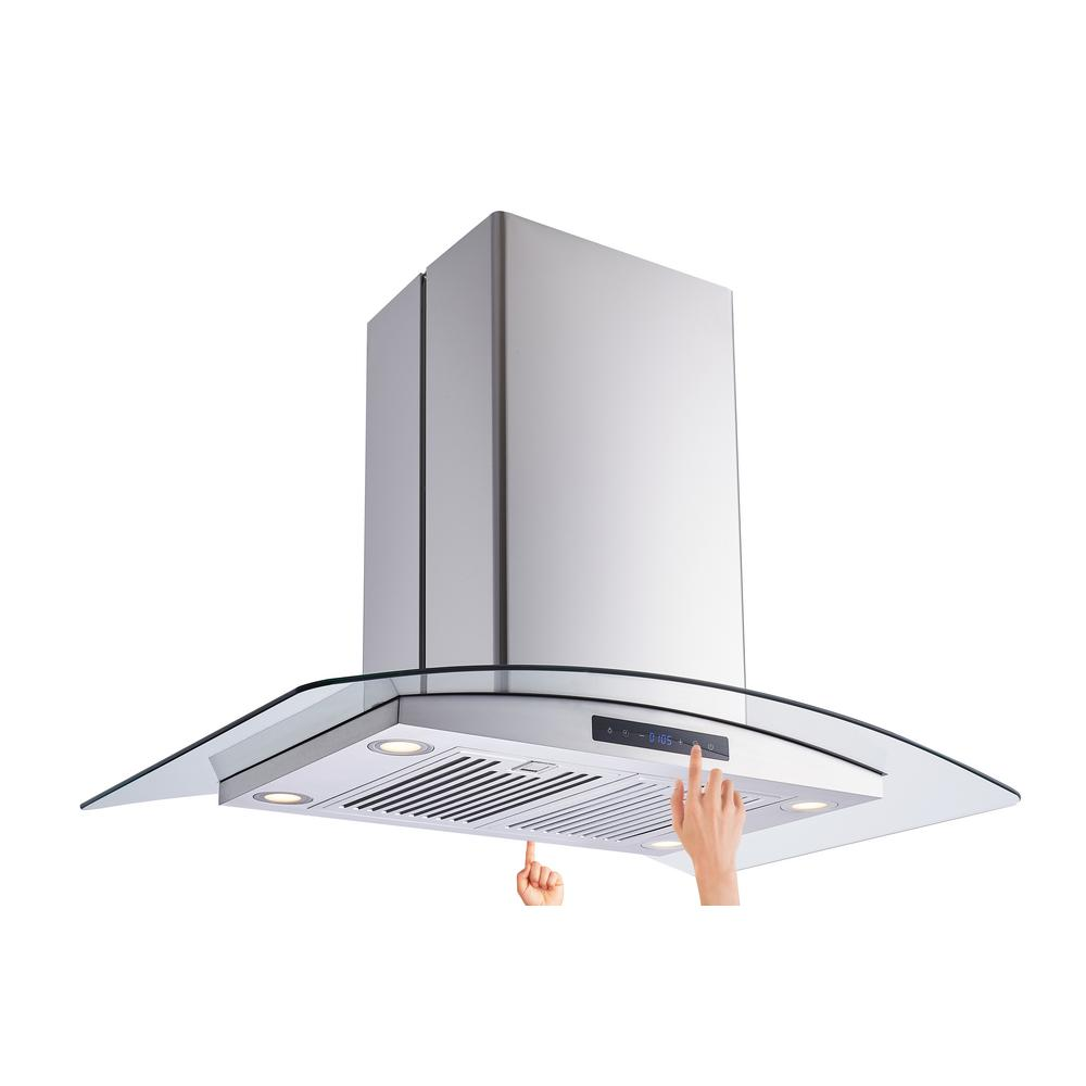 Vissani 36 in. W Convertible Glass Island Mount Range Hood with Dual-Sided Touch Panels and Charcoal Filters in Stainless Steel