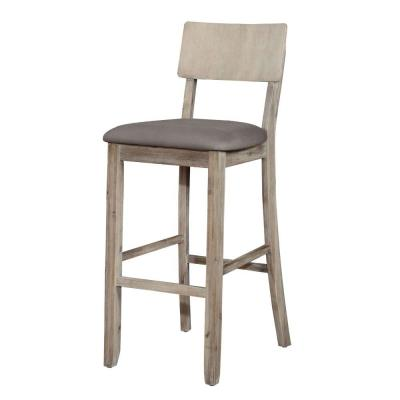 43.5 in. H Gray Washed Wooden Bar Stool with Curved Backrest and Padded Seat