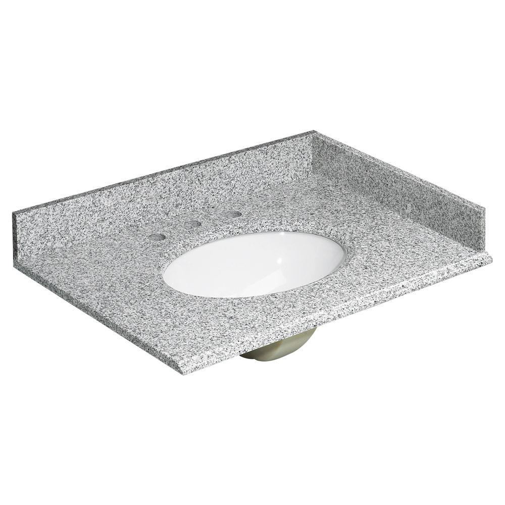 31 in. W Granite Vanity Top in Rushmore Grey with Backsplash