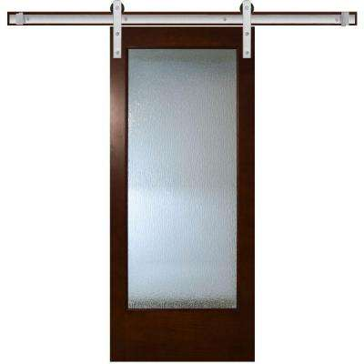 modern full lite rain glass stained pine interior barn door with sliding