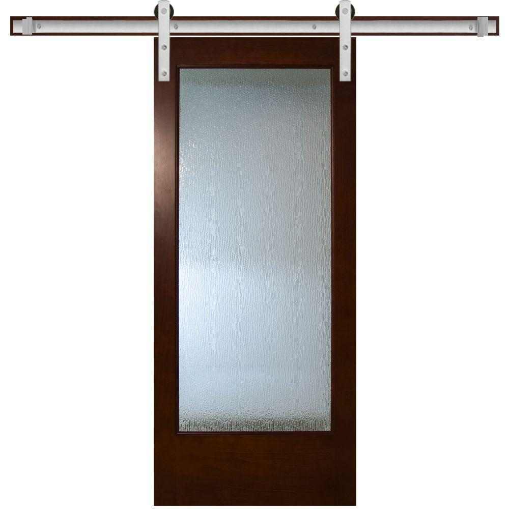 Modern Full Lite Rain Gl Stained Pine Interior Barn Door With Sliding Hardware Kit Bdfrn Ctbk 24slb The Home Depot