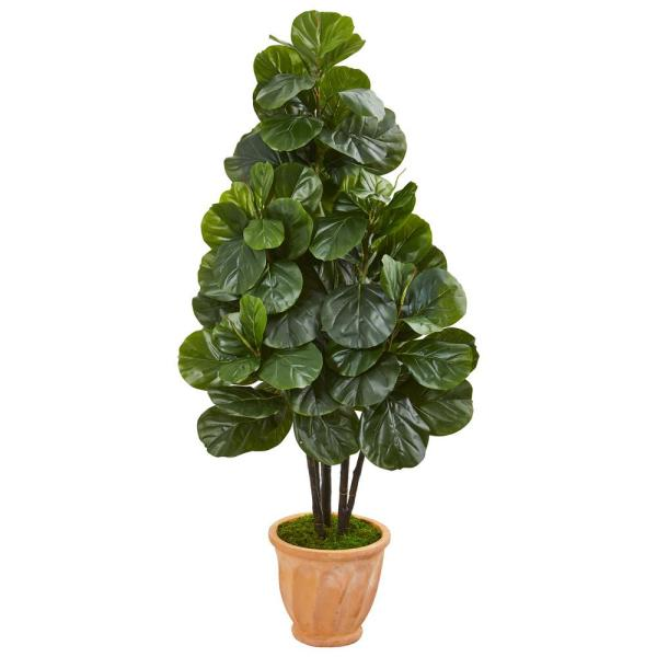 Nearly Natural Indoor 58-In. Fiddle Leaf Fig Artificial Tree in Terra Cotta Planter