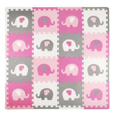 Elephants and Hearts, Pink/Grey 50 in. x 50 in. EVA Playmat Set