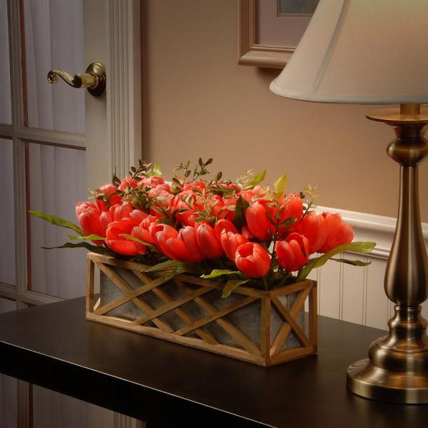 20 in. Planter with Pink Tulips
