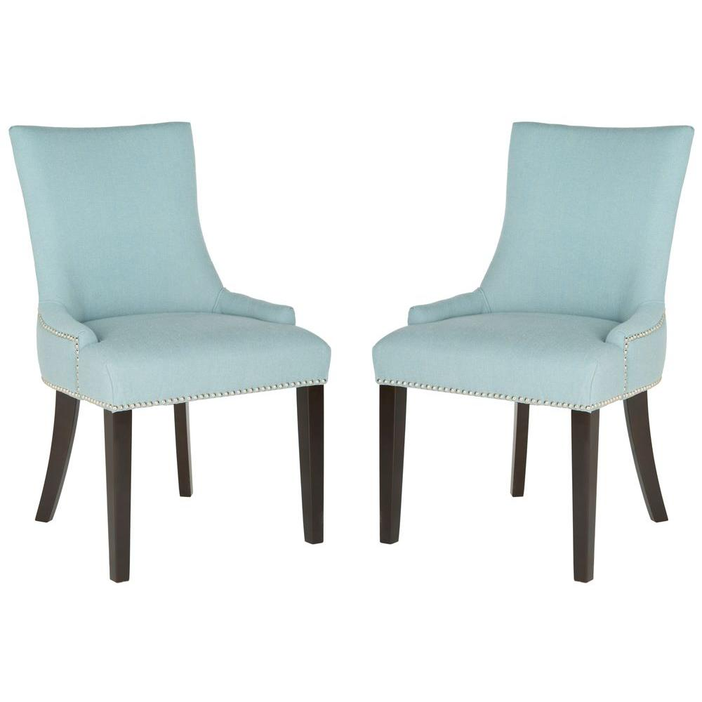 Safavieh Lester Sky Blue Linen Blend Dining Chair (Set Of