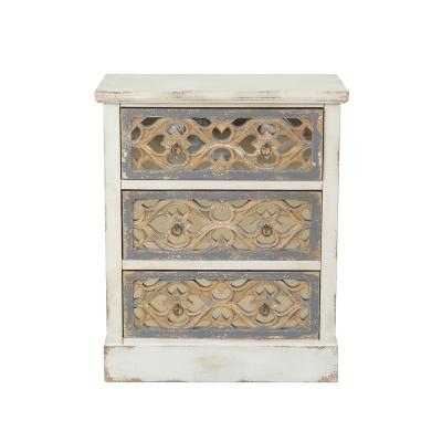 3-Drawer Rustic White and Natural Wood Accent Dresser (32.25 in. H x 28.62 in. W x 13.62 in. D)