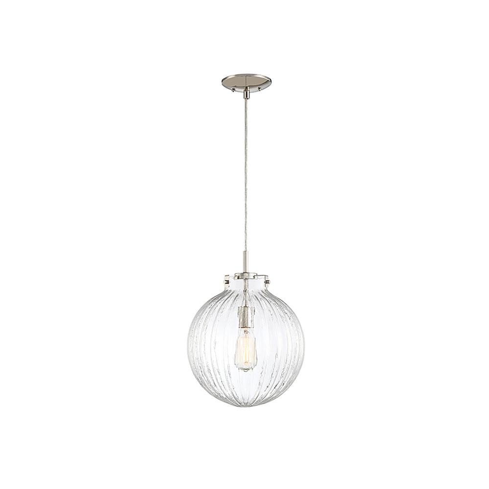 Filament Design 1-Light Polished Nickel Mini Pendant with Clear Ribbed Glass