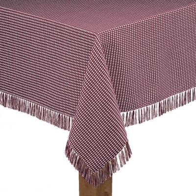 Homespun Fringed 60 in. x 102 in. Wine 100% Cotton Tablecloth