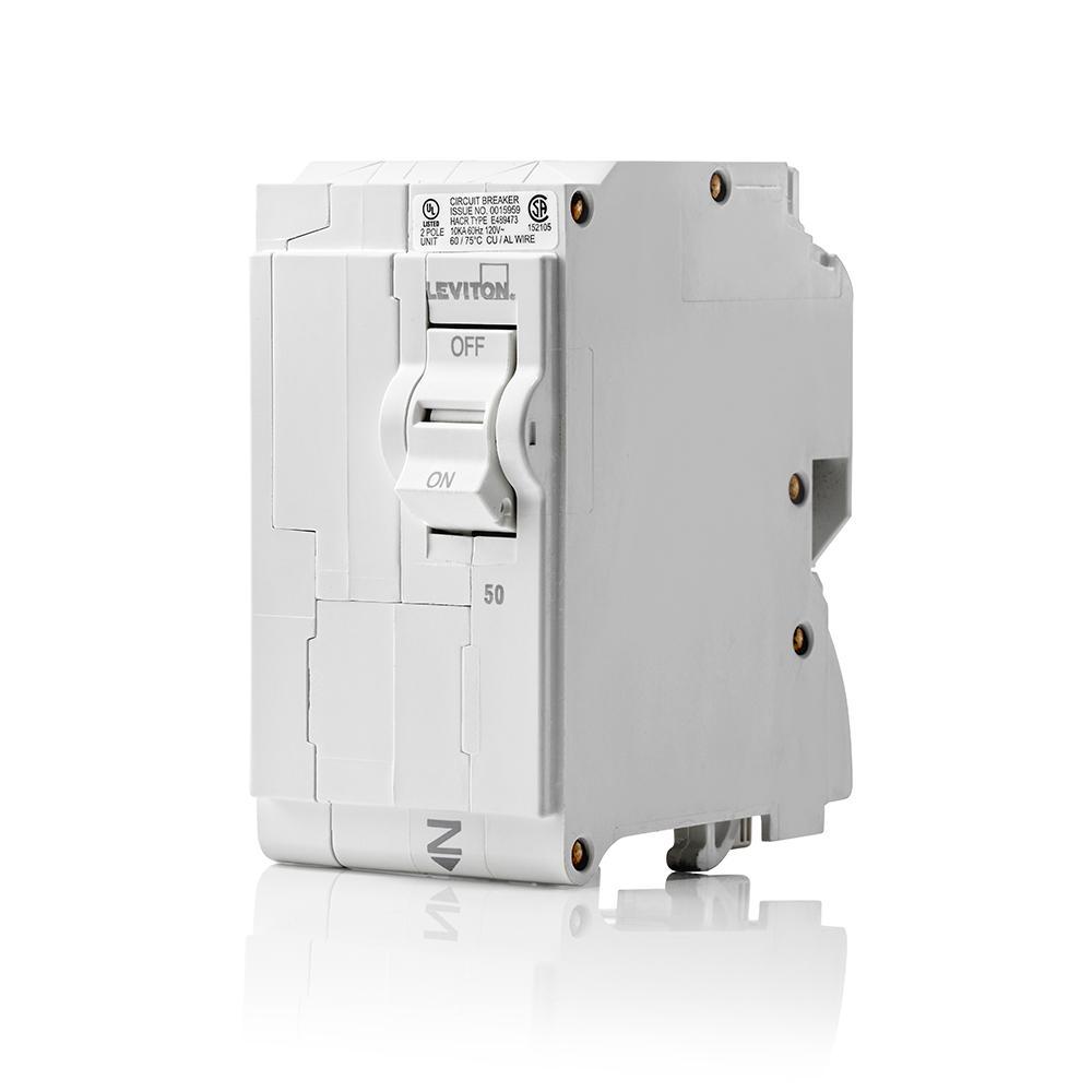 Branch Circuit Breaker, Standard 2-Pole 50 Amp, 120-Volt/240-Volt, Hydraulic Magnetic