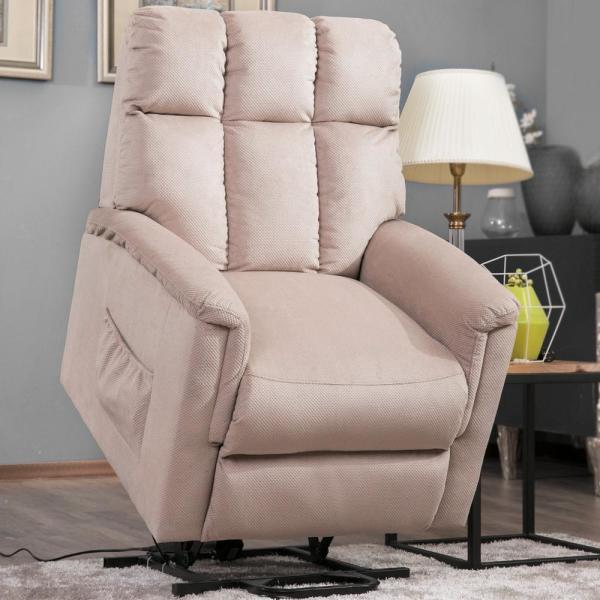 Merax Beige Soft Fabric Recliner Chair with Remote Control PP038656EAA