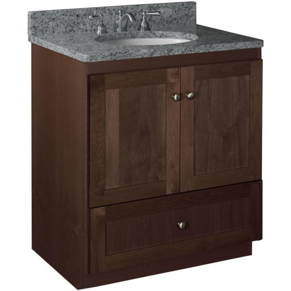 Shaker 30 in. W x 21 in. D x 34.5 in. H Vanity with No Side Drawers Cabinet Only in Dark Alder