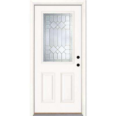 37.5 in. x 81.625 in. Mission Pointe Zinc 1/2 Lite Unfinished Smooth Left-Hand Inswing Fiberglass Prehung Front Door