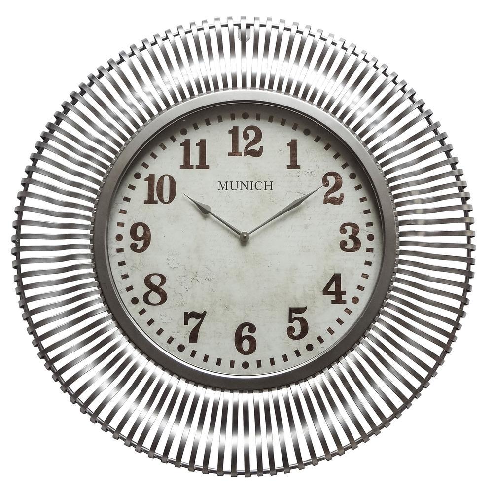 Munich Silver Patina Analog Wall Clock